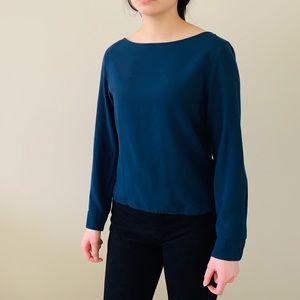 🛍 3/$30 Uniqlo blue longsleeve blouse